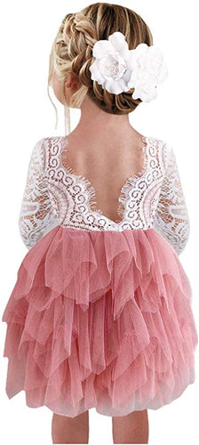 2BUNNIES Girl Peony Lace Back 3 Tiered Long Sleeve Knee Length Dress (Dusty Pink)