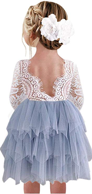 2BUNNIES Girl Peony Lace Back 3 Tiered Long Sleeve Knee Length Dress (Gray)