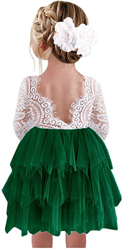 2BUNNIES Girl Peony Lace Back 3 Tiered Long Sleeve Knee Length Dress (Green)