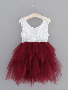 2BUNNIES Girl Peony Lace Back 3 Tiered Sleeveless Knee Length Dress (Wine Red)