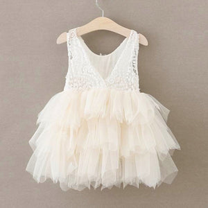 2BUNNIES Girl Peony Lace Back (BEADED) 3 Tiered Sleeveless Knee Length Dress (Ivory)