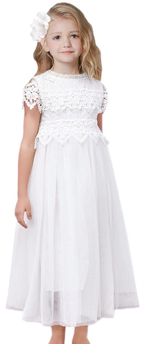 2BUNNIES Girl Communion Lace Cap Sleeve Maxi Straight Dress (White)