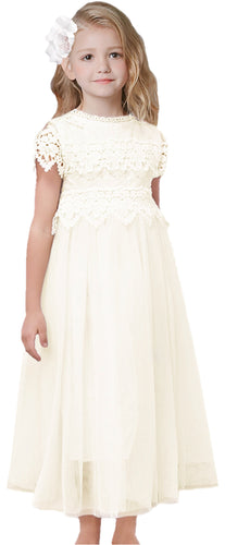 2BUNNIES Girl Communion Lace Cap Sleeve Maxi Straight Dress (Ivory)