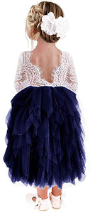 2BUNNIES Girl Peony Lace Back 5 Tiered Long Sleeve Maxi Dress (Navy)