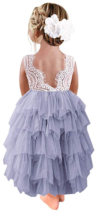 2BUNNIES Girl Peony Lace Back 5 Tiered Sleeveless Maxi Dress (Bluish Gray)