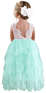 2BUNNIES Girl Peony Lace Back 5 Tiered Sleeveless Maxi Dress (Mint)