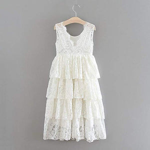 2BUNNIES Girl Peony All Lace 5 Tiered Sleeveless Maxi Dress (White)