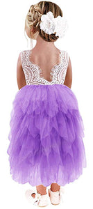 2BUNNIES Girl Peony Lace Back 5 Tiered Sleeveless Maxi Dress (Purple)