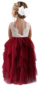 2BUNNIES Girl Peony Lace Back 5 Tiered Sleeveless Maxi Dress (Wine Red)