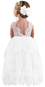 2BUNNIES Girl Peony Lace Back 5 Tiered Sleeveless Maxi Dress (white)