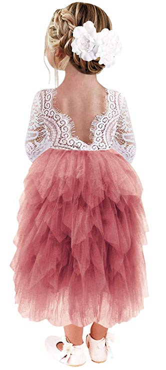 2BUNNIES Girl Peony Lace Back 5 Tiered Long Sleeve Maxi Dress (Dusty Pink)