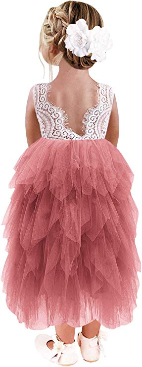 2BUNNIES Girl Peony Lace Back 5 Tiered Sleeveless Maxi Dress (Dusty Pink)