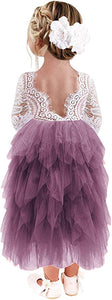 2BUNNIES Girl Peony Lace Back 5 Tiered Long Sleeve Maxi Dress (Mauve)