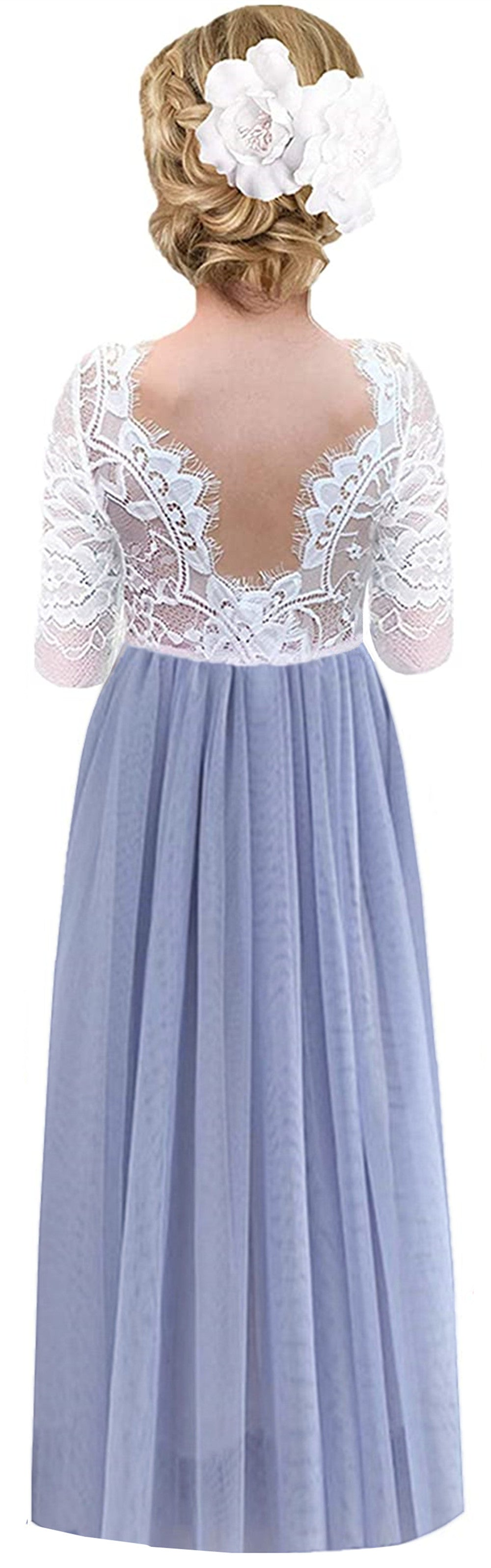 2BUNNIES Girl Rose Lace Back Long Sleeve Maxi Straight Dress (Bluish Gray)