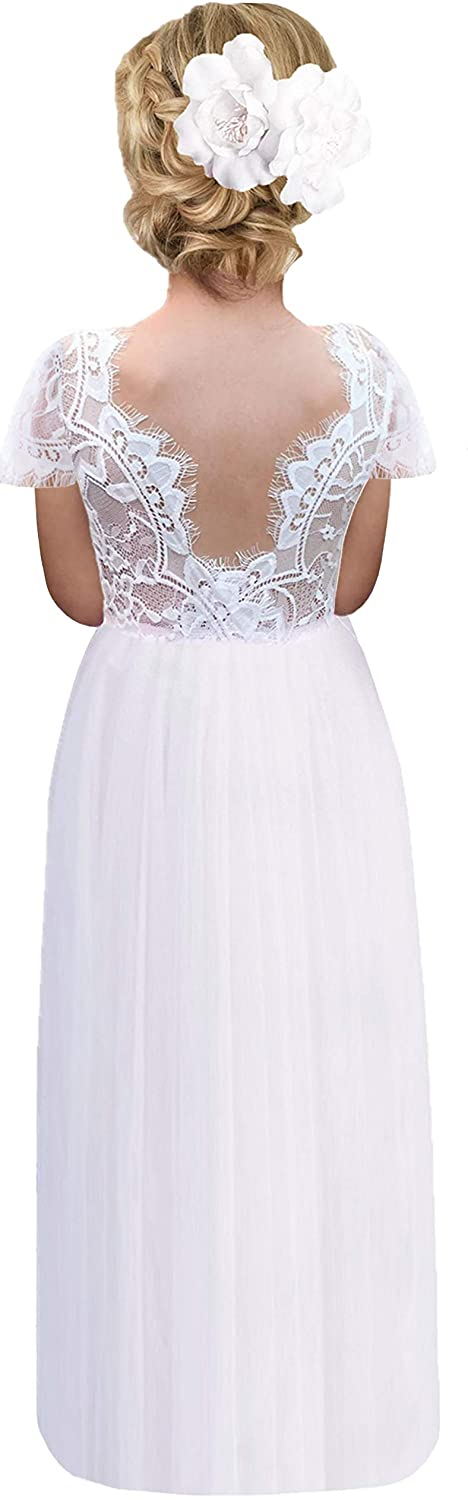 2BUNNIES Girl Rose Lace Back Short Sleeve Maxi Straight Dress (White)