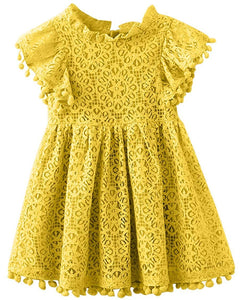 2BUNNIES Girl Sunflower Lace Pom Pom Trim Dress (Mustard)