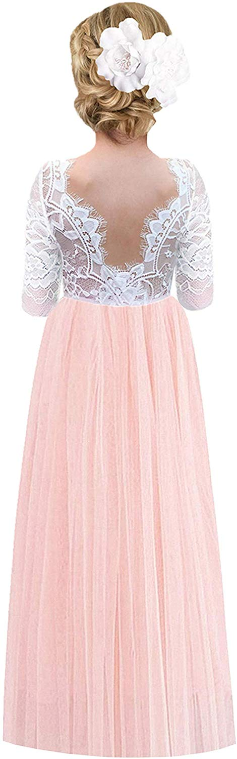 2BUNNIES Girl Rose Lace Back Long Sleeve Maxi Straight Dress (Pink)