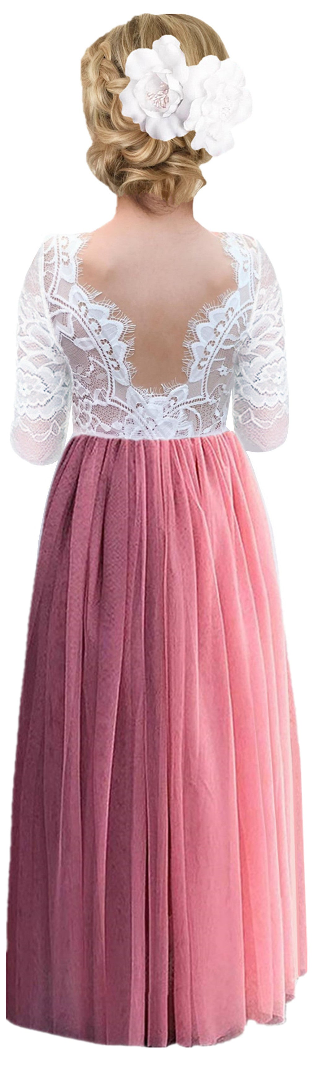 2BUNNIES Girl Rose Lace Back Long Sleeve Maxi Straight Dress (Dusty Pink)