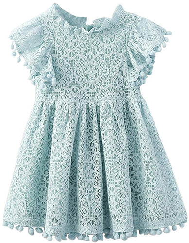 2BUNNIES Girl Sunflower Lace Pom Pom Trim Dress (Blue)