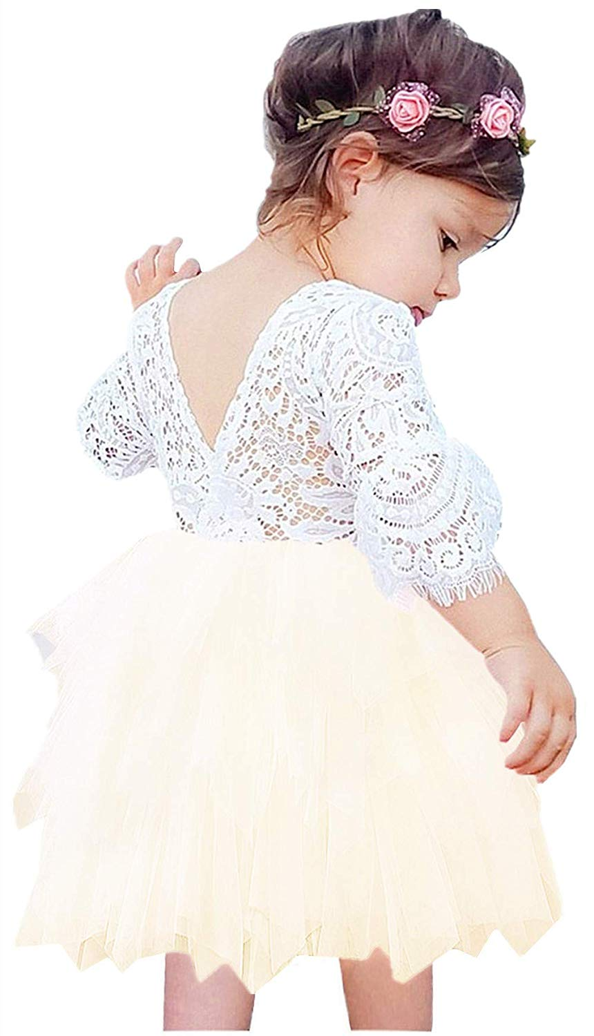 2BUNNIES Girl Peony Lace Back (BEADED) 3 Tiered Bell Sleeve Dress (Ivory)