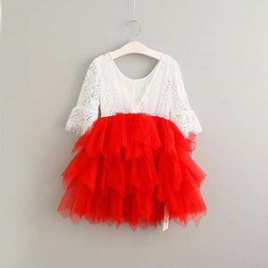 2BUNNIES Girl Peony Lace Back Bell Sleeve Knee Length Petunia Dress (Red)