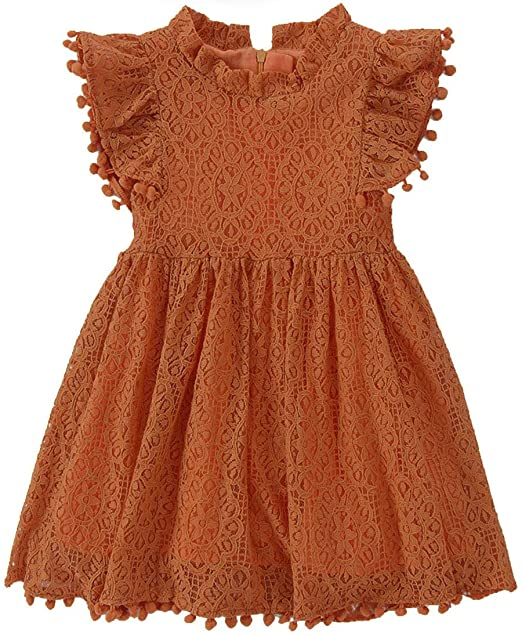 2BUNNIES Girl Sunflower Lace Pom Pom Trim Dress (Brick)