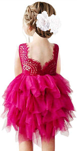 2BUNNIES Girl Peony Lace Back 3 Tiered Sleeveless Knee Length Dress (All Fuchsia Pink)