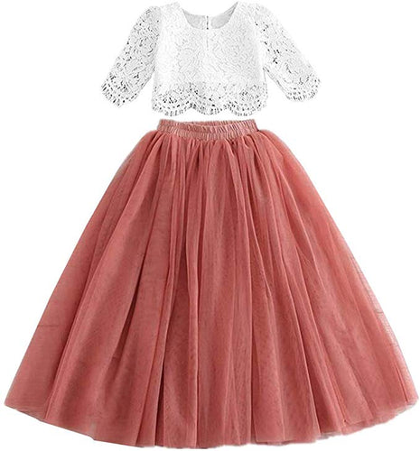 2BUNNIES Girl Dress Set Scallop Lace Long Sleeve Maxi Straight (Dusty Pink)