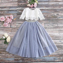 2BUNNIES Girl Dress Set Scallop Lace Long Sleeve Maxi Straight (Gray)