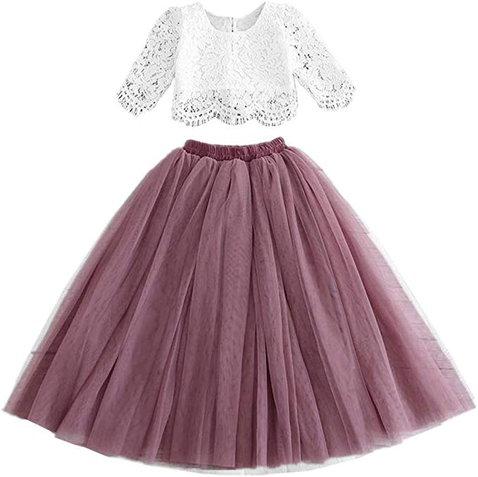 2BUNNIES Girl Dress Set Scallop Lace Long Sleeve Maxi Straight (Mauve)