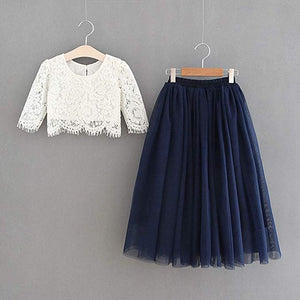 2BUNNIES Girl Dress Set Scallop Lace Long Sleeve Maxi Straight (Navy)