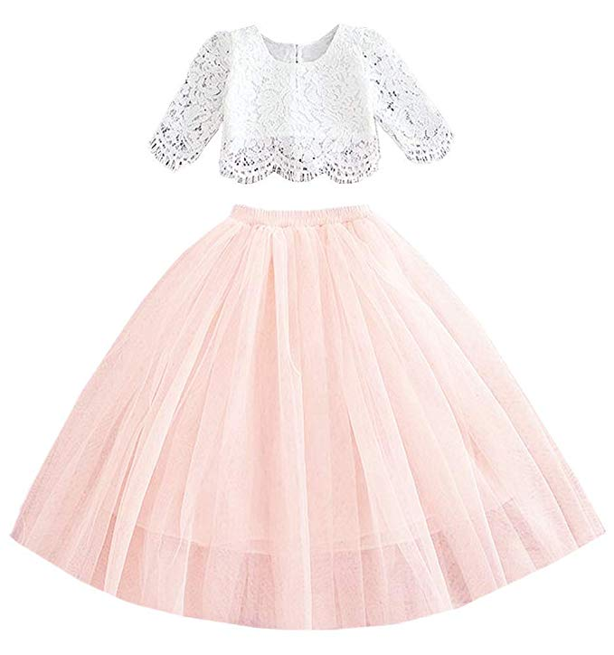 2BUNNIES Girl Dress Set Scallop Lace Long Sleeve Maxi Straight (Pink)