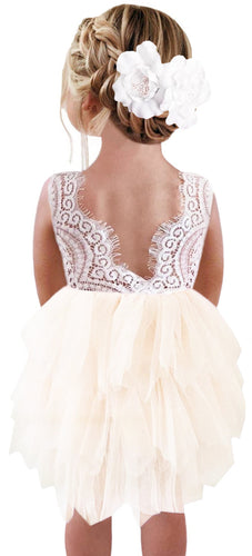 2BUNNIES Girl Peony Lace Back (BEADED) 3 Tiered Sleeveless Knee Length Dress (Off White)
