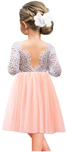 2BUNNIES Girl Peony Lace Back Long Sleeve Knee Length Straight Dress (Pink)