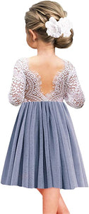 2BUNNIES Girl Peony Lace Back Long Sleeve Knee Length Straight Dress (Bluish Gray)