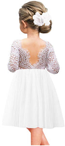 2BUNNIES Girl Peony Lace Back Long Sleeve Knee Length Straight Dress (White)