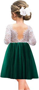 2BUNNIES Girl Peony Lace Back Long Sleeve Knee Length Straight Dress (Green)
