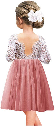 2BUNNIES Girl Peony Lace Back Long Sleeve Knee Length Straight Dress (Dusty Pink)