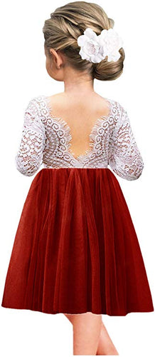 2BUNNIES Girl Peony Lace Back Long Sleeve Knee Length Straight Dress (Maroon Red)