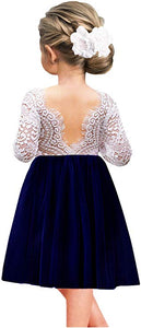 2BUNNIES Girl Peony Lace Back Long Sleeve Knee Length Straight Dress (Navy)