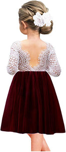 2BUNNIES Girl Peony Lace Back Long Sleeve Knee Length Straight Dress (Burgundy)
