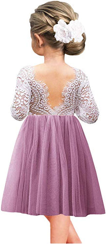 2BUNNIES Girl Peony Lace Back Long Sleeve Knee Length Straight Dress (Mauve)