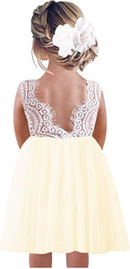 2BUNNIES Girl Peony Lace Back Sleeveless Knee Length Straight Dress (Ivory)