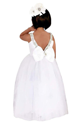 2BUNNIES Girl Rhinestone Satin Sleeveless Maxi lace Straight Dress (White)