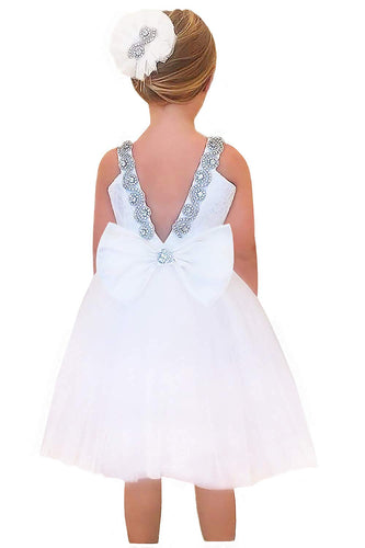 2BUNNIES Girl Rhinestone Satin Sleeveless Short Lace Straight Dress (White)