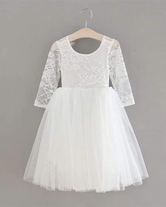 2BUNNIES Girl Rose Lace Back Long Sleeve Knee Length Straight Dress (White)