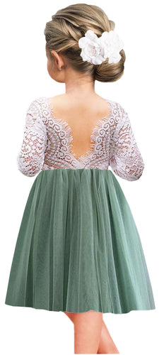 2BUNNIES Girl Peony Lace Back Long Sleeve Knee Length Straight Dress (Sage)