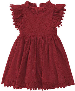 2BUNNIES Girl Sunflower Lace Pom Pom Trim Dress (Wine)