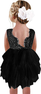 2BUNNIES Girl Peony Lace Back 3 Tiered Sleeveless Knee Length Dress (All Black)