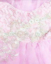 2BUNNIES Girl Peony Lace Back 3 Tiered Sleeveless Knee Length Dress (Beaded All Pink)